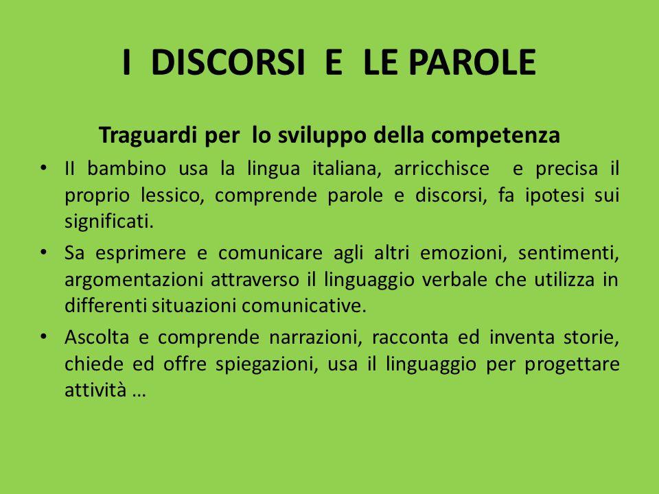 I DISCORSI E LE PAROLE Traguardi per lo sviluppo della competenza II bambino usa la lingua italiana, arricchisce e precisa il proprio lessico, compren