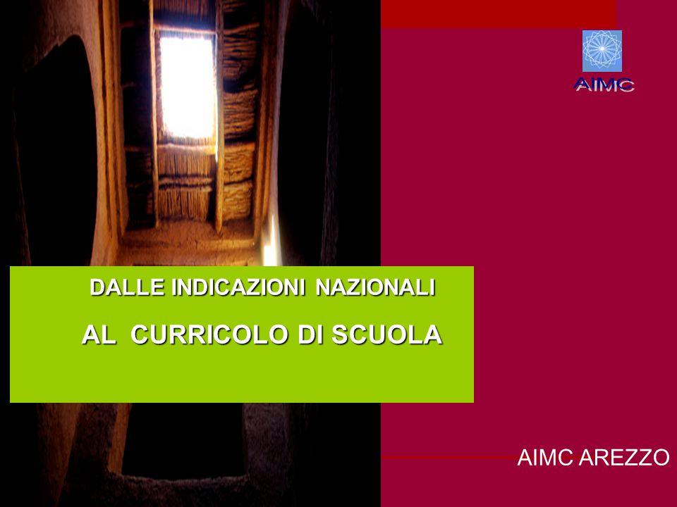 AIMC AREZZO DALLE INDICAZIONI NAZIONALI DALLE INDICAZIONI NAZIONALI AL CURRICOLO DI SCUOLA AL CURRICOLO DI SCUOLA