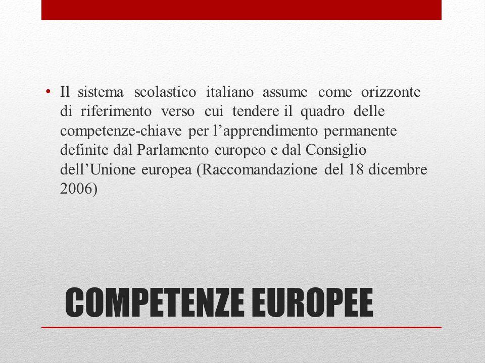 COMPETENZE EUROPEE Il sistema scolastico italiano assume come orizzonte di riferimento verso cui tendere il quadro delle competenze-chiave per l'apprendimento permanente definite dal Parlamento europeo e dal Consiglio dell'Unione europea (Raccomandazione del 18 dicembre 2006)