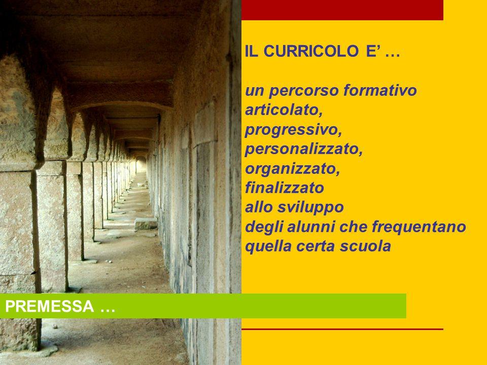 PREMESSA … IL CURRICOLO E' … un percorso formativo articolato, progressivo, personalizzato, organizzato, finalizzato allo sviluppo degli alunni che frequentano quella certa scuola