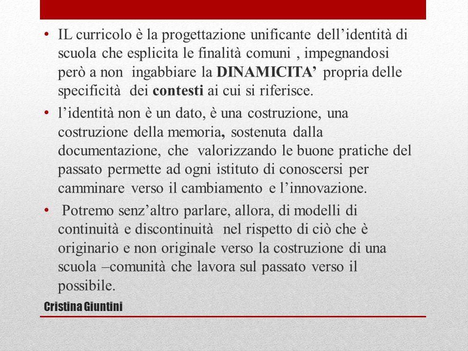Cristina Giuntini IL curricolo è la progettazione unificante dell'identità di scuola che esplicita le finalità comuni, impegnandosi però a non ingabbiare la DINAMICITA' propria delle specificità dei contesti ai cui si riferisce.