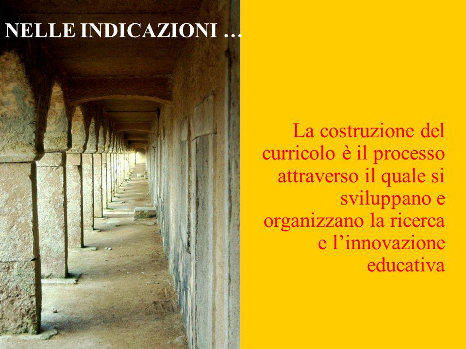 La costruzione del curricolo è il processo attraverso il quale si sviluppano e organizzano la ricerca e l'innovazione educativa NELLE INDICAZIONI …