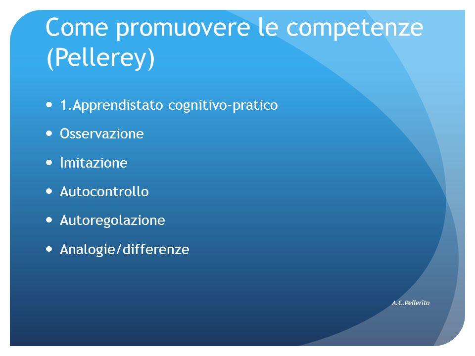 Come promuovere le competenze (Pellerey) 1.Apprendistato cognitivo-pratico Osservazione Imitazione Autocontrollo Autoregolazione Analogie/differenze A.C.Pellerito