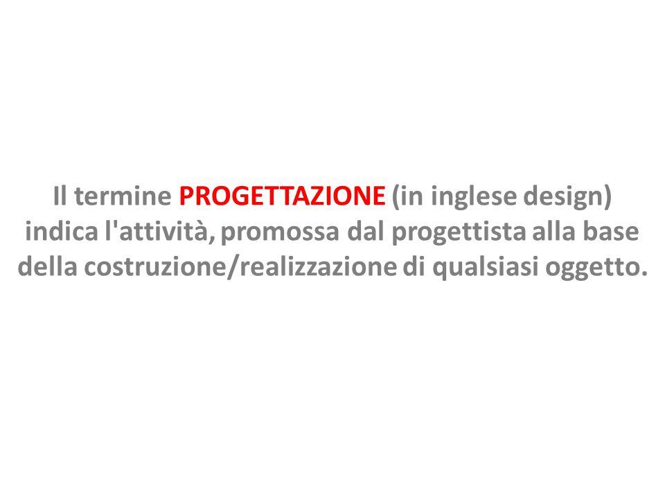 Il termine PROGETTAZIONE (in inglese design) indica l attività, promossa dal progettista alla base della costruzione/realizzazione di qualsiasi oggetto.