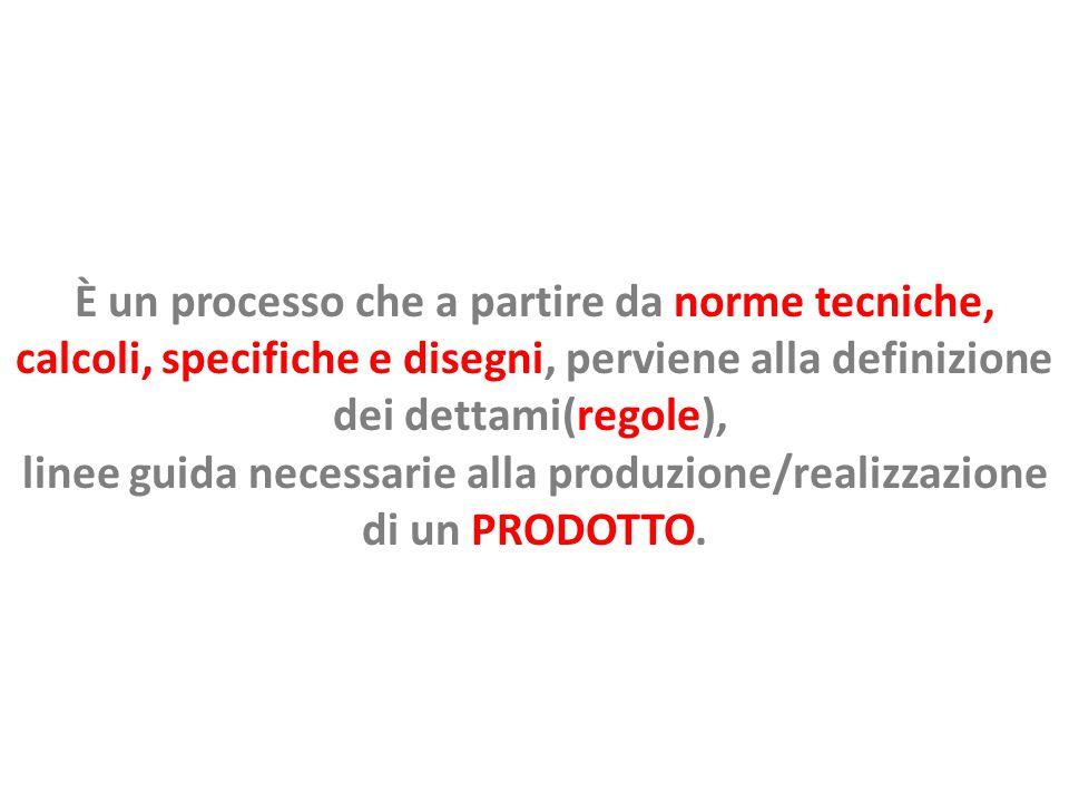 È un processo che a partire da norme tecniche, calcoli, specifiche e disegni, perviene alla definizione dei dettami(regole), linee guida necessarie alla produzione/realizzazione di un PRODOTTO.