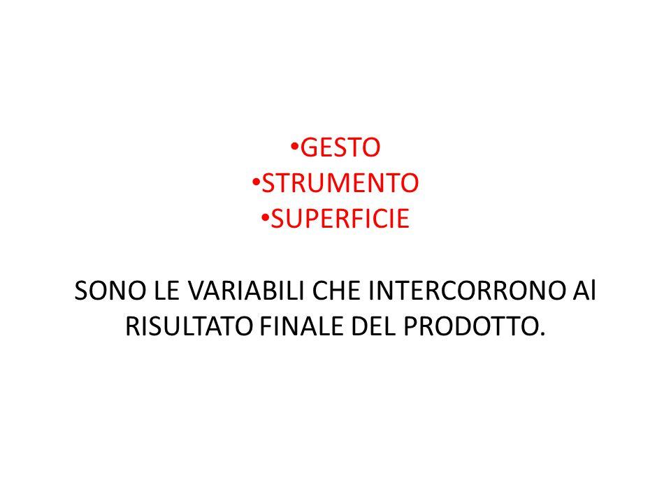 GESTO STRUMENTO SUPERFICIE SONO LE VARIABILI CHE INTERCORRONO Al RISULTATO FINALE DEL PRODOTTO.