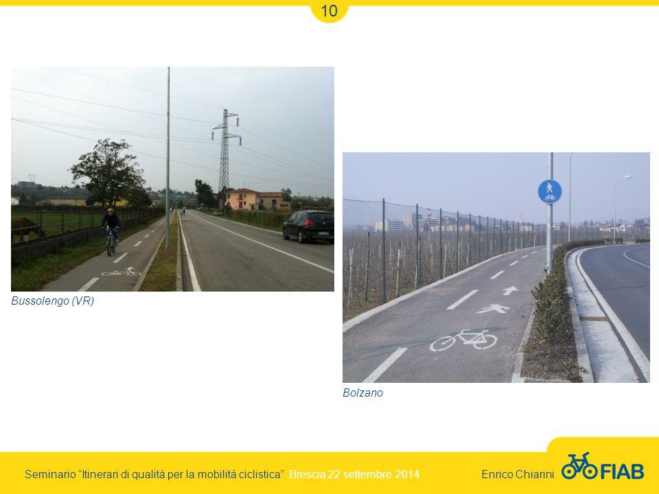 Seminario Itinerari di qualità per la mobilità ciclistica Brescia 22 settembre 2014 Enrico Chiarini 10 Bussolengo (VR) Bolzano