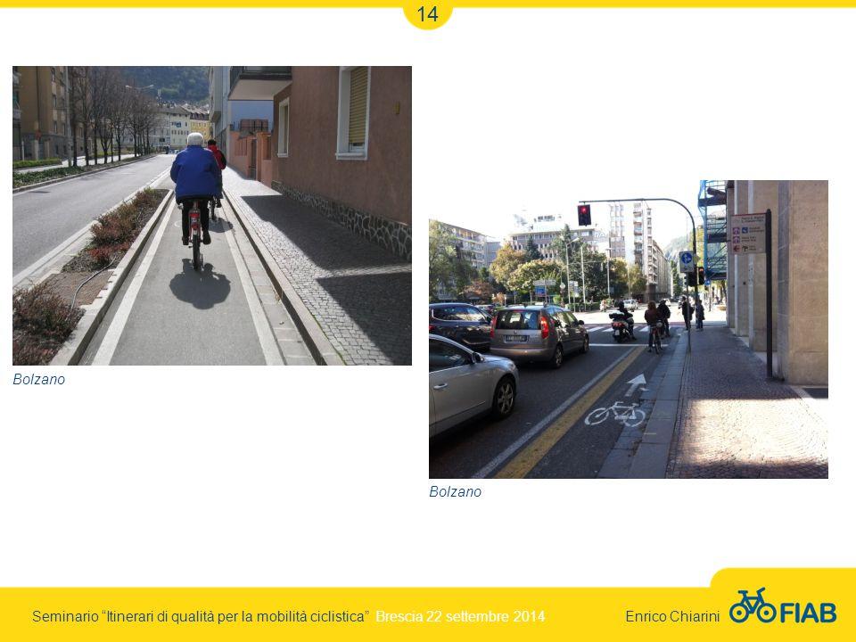 Seminario Itinerari di qualità per la mobilità ciclistica Brescia 22 settembre 2014 Enrico Chiarini 14 Bolzano