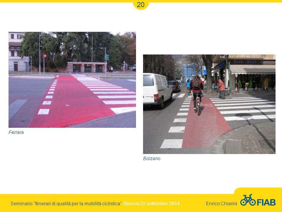 Seminario Itinerari di qualità per la mobilità ciclistica Brescia 22 settembre 2014 Enrico Chiarini 20 Ferrara Bolzano