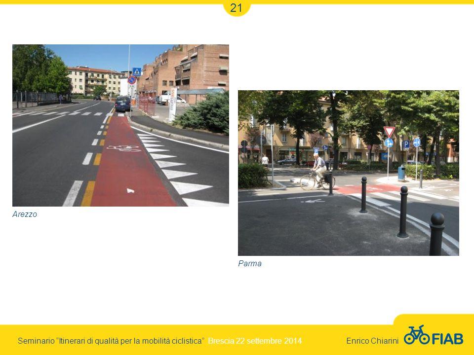 Seminario Itinerari di qualità per la mobilità ciclistica Brescia 22 settembre 2014 Enrico Chiarini 21 Arezzo Parma