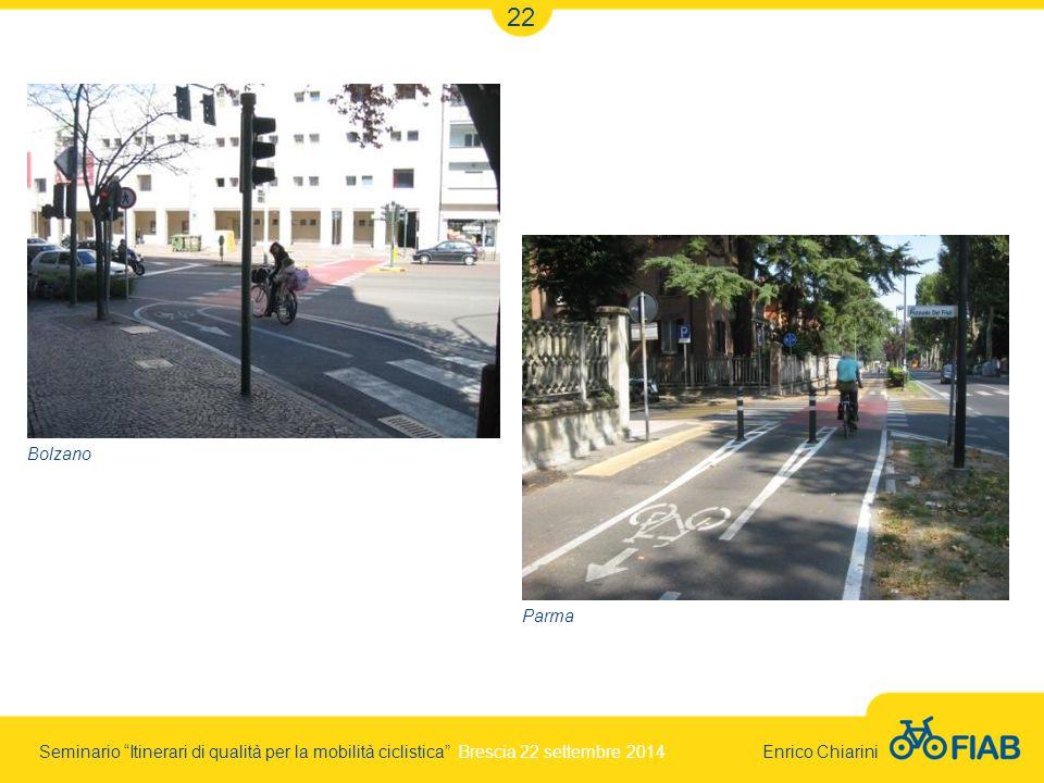 Seminario Itinerari di qualità per la mobilità ciclistica Brescia 22 settembre 2014 Enrico Chiarini 22 Bolzano Parma