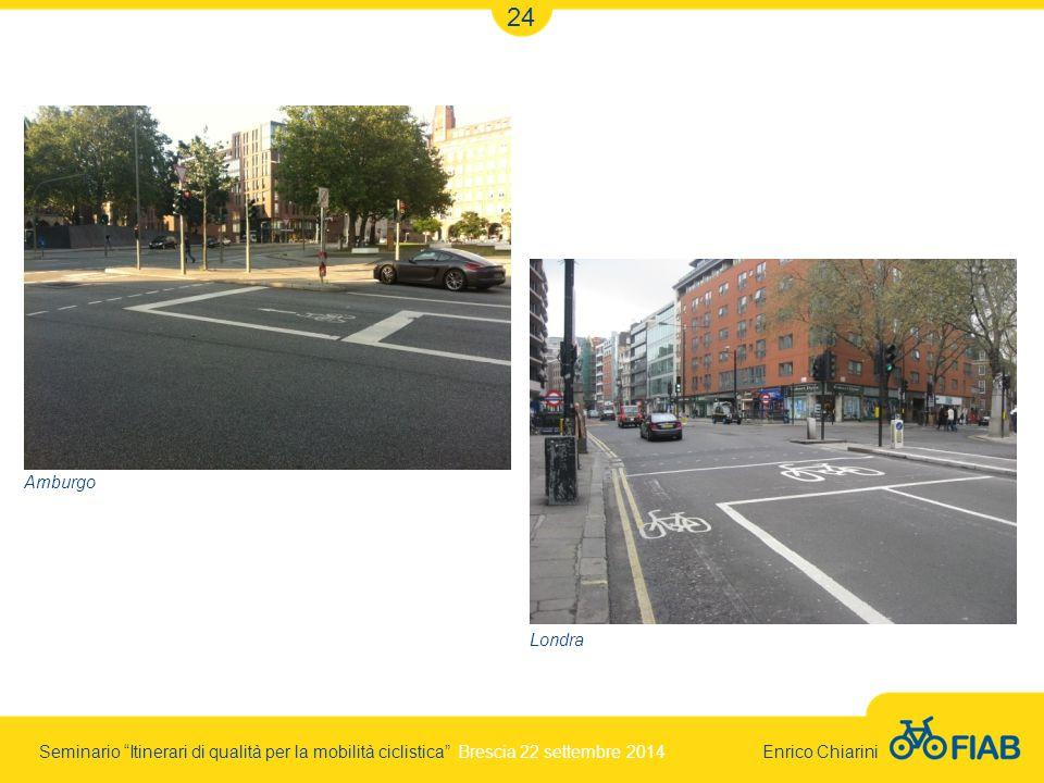 Seminario Itinerari di qualità per la mobilità ciclistica Brescia 22 settembre 2014 Enrico Chiarini 24 Londra Amburgo