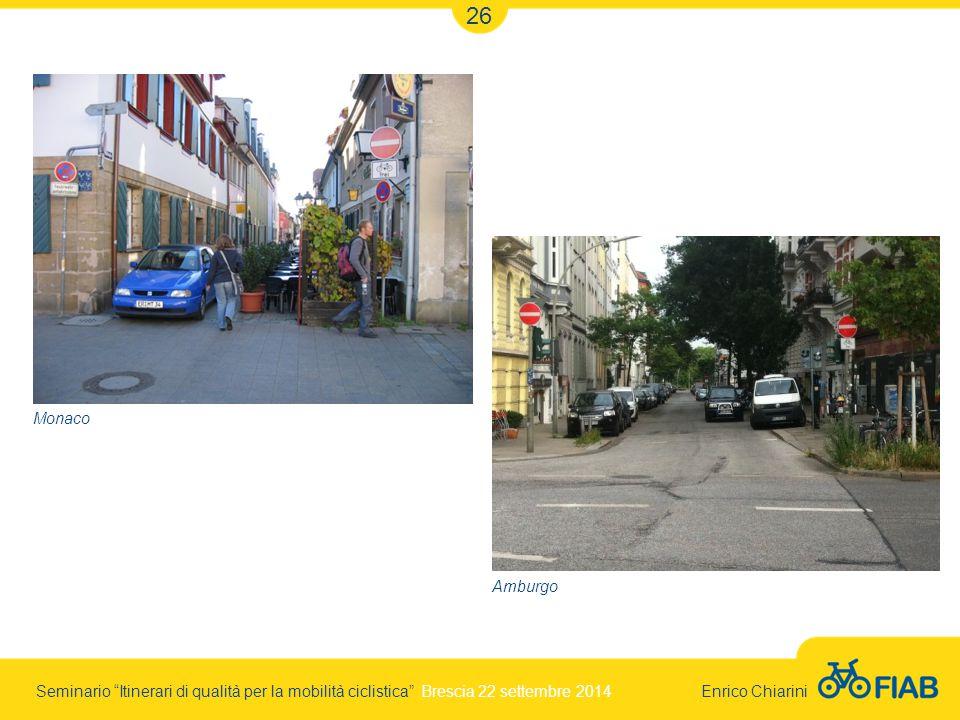 Seminario Itinerari di qualità per la mobilità ciclistica Brescia 22 settembre 2014 Enrico Chiarini 26 Monaco Amburgo