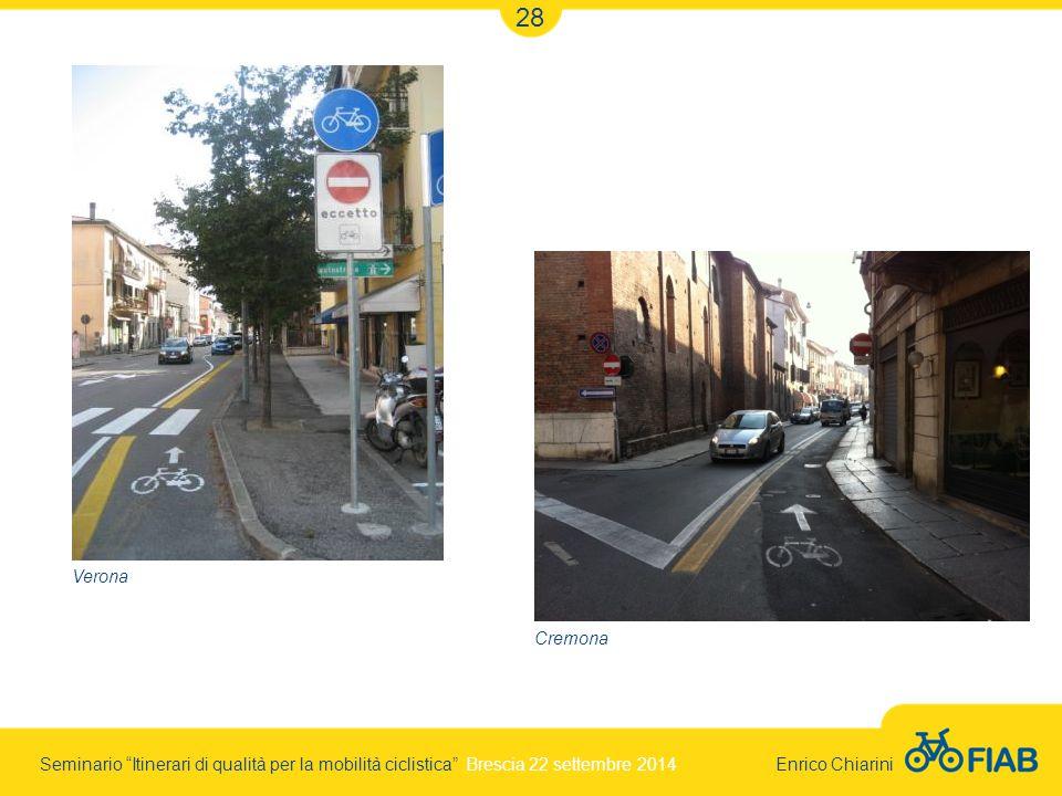 Seminario Itinerari di qualità per la mobilità ciclistica Brescia 22 settembre 2014 Enrico Chiarini 28 Verona Cremona
