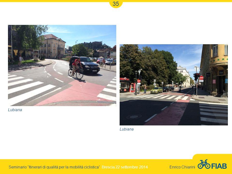 Seminario Itinerari di qualità per la mobilità ciclistica Brescia 22 settembre 2014 Enrico Chiarini 35 Lubiana