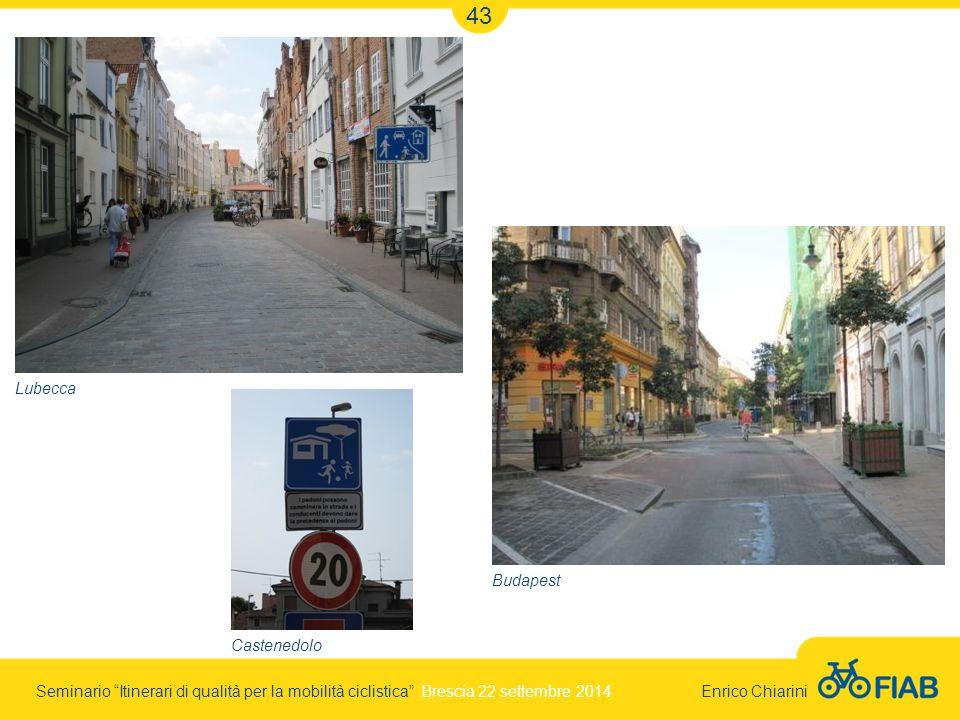Seminario Itinerari di qualità per la mobilità ciclistica Brescia 22 settembre 2014 Enrico Chiarini 43 Lubecca Budapest Castenedolo
