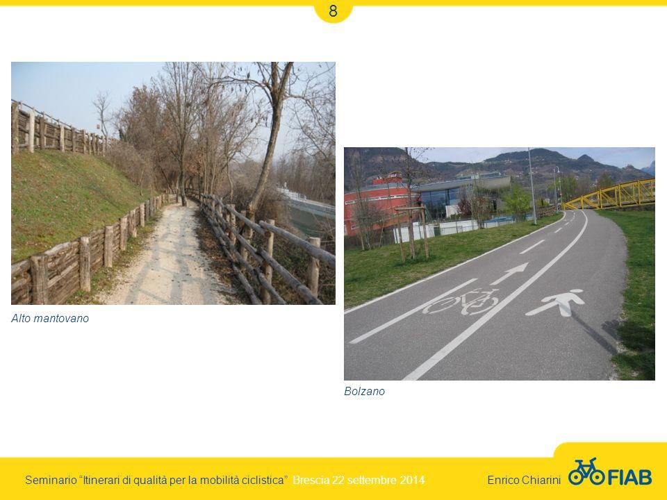 Seminario Itinerari di qualità per la mobilità ciclistica Brescia 22 settembre 2014 Enrico Chiarini 8 Alto mantovano Bolzano