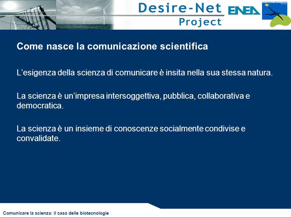 Come nasce la comunicazione scientifica L'esigenza della scienza di comunicare è insita nella sua stessa natura. La scienza è un'impresa intersoggetti