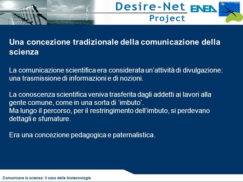 Una concezione tradizionale della comunicazione della scienza La comunicazione scientifica era considerata un'attività di divulgazione: una trasmissio