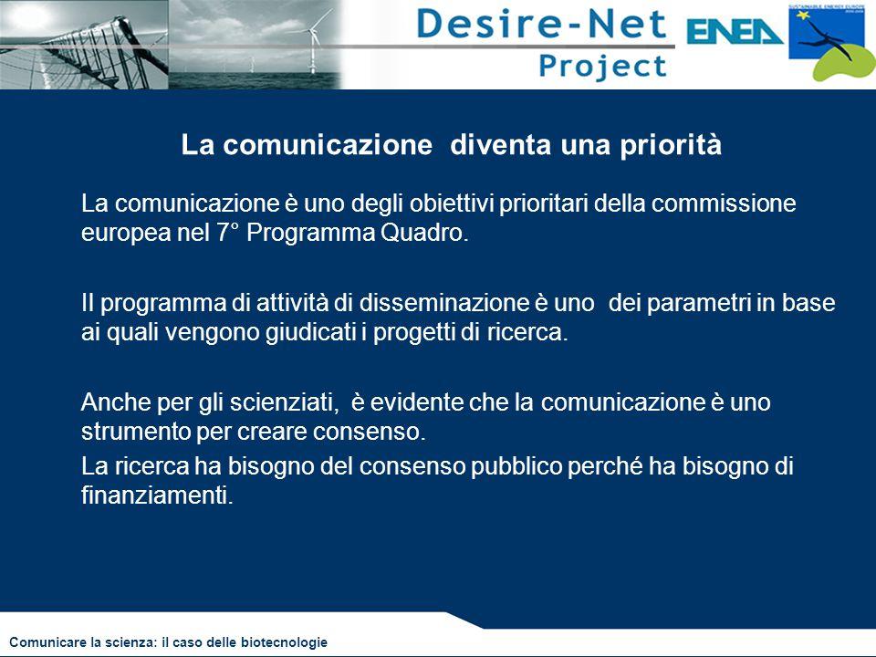 La comunicazione diventa una priorità La comunicazione è uno degli obiettivi prioritari della commissione europea nel 7° Programma Quadro. Il programm