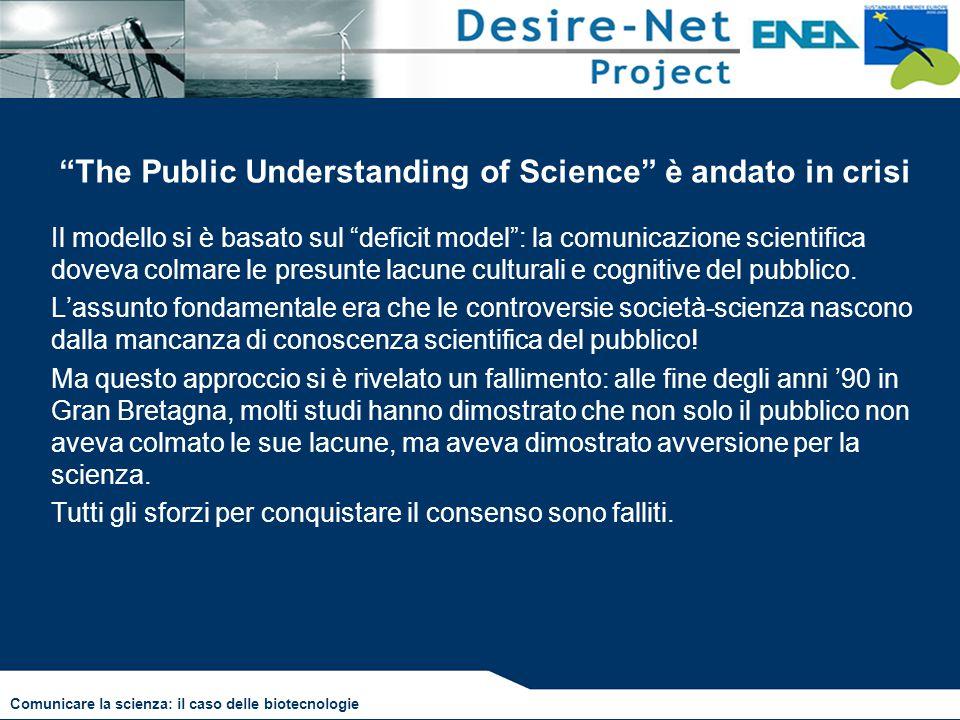 """""""The Public Understanding of Science"""" è andato in crisi Il modello si è basato sul """"deficit model"""": la comunicazione scientifica doveva colmare le pre"""