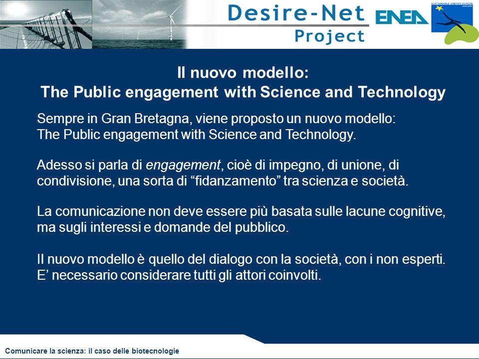 Il nuovo modello: The Public engagement with Science and Technology Sempre in Gran Bretagna, viene proposto un nuovo modello: The Public engagement wi