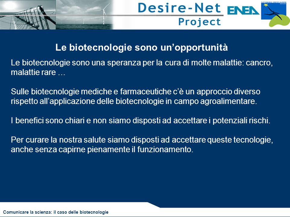 Le biotecnologie sono un'opportunità Le biotecnologie sono una speranza per la cura di molte malattie: cancro, malattie rare … Sulle biotecnologie med