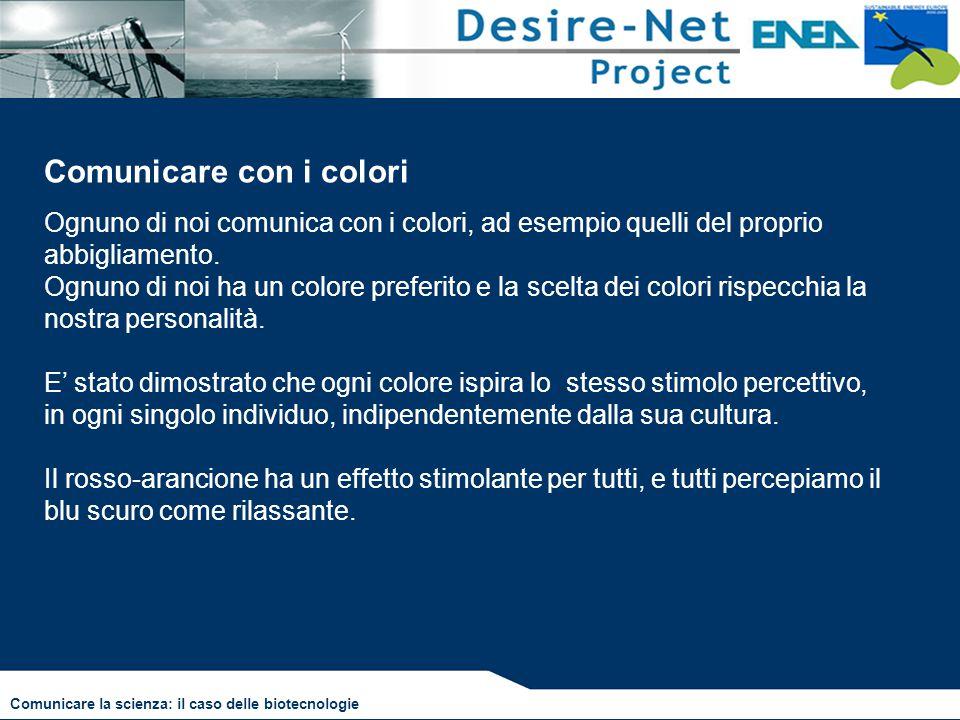 Comunicare con i colori Comunicare la scienza: il caso delle biotecnologie Ognuno di noi comunica con i colori, ad esempio quelli del proprio abbiglia