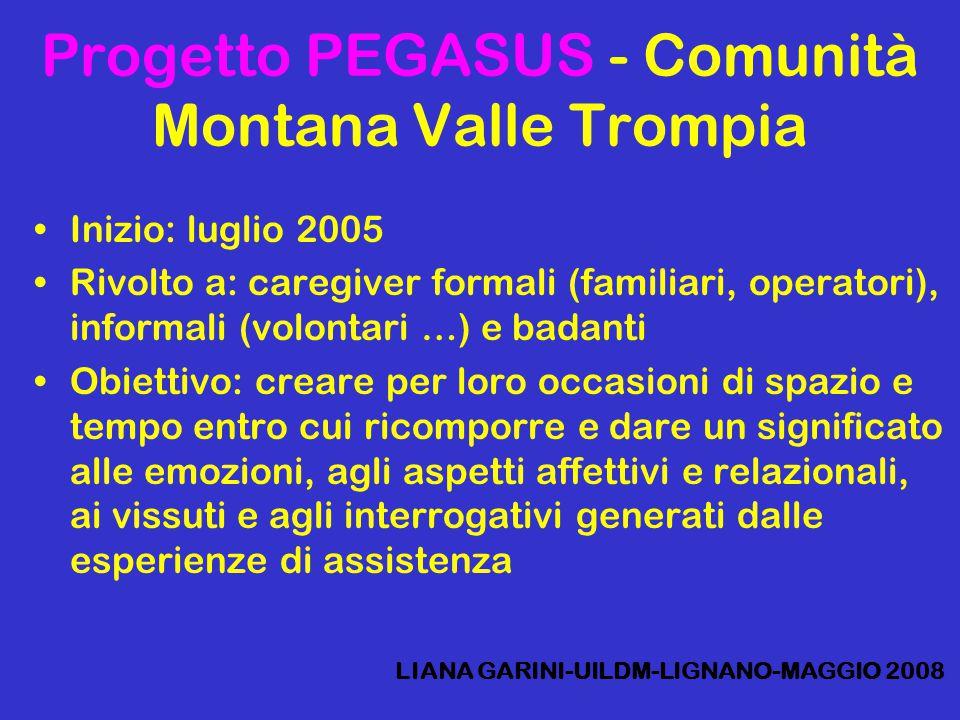 Progetto PEGASUS - Comunità Montana Valle Trompia Inizio: luglio 2005 Rivolto a: caregiver formali (familiari, operatori), informali (volontari …) e b