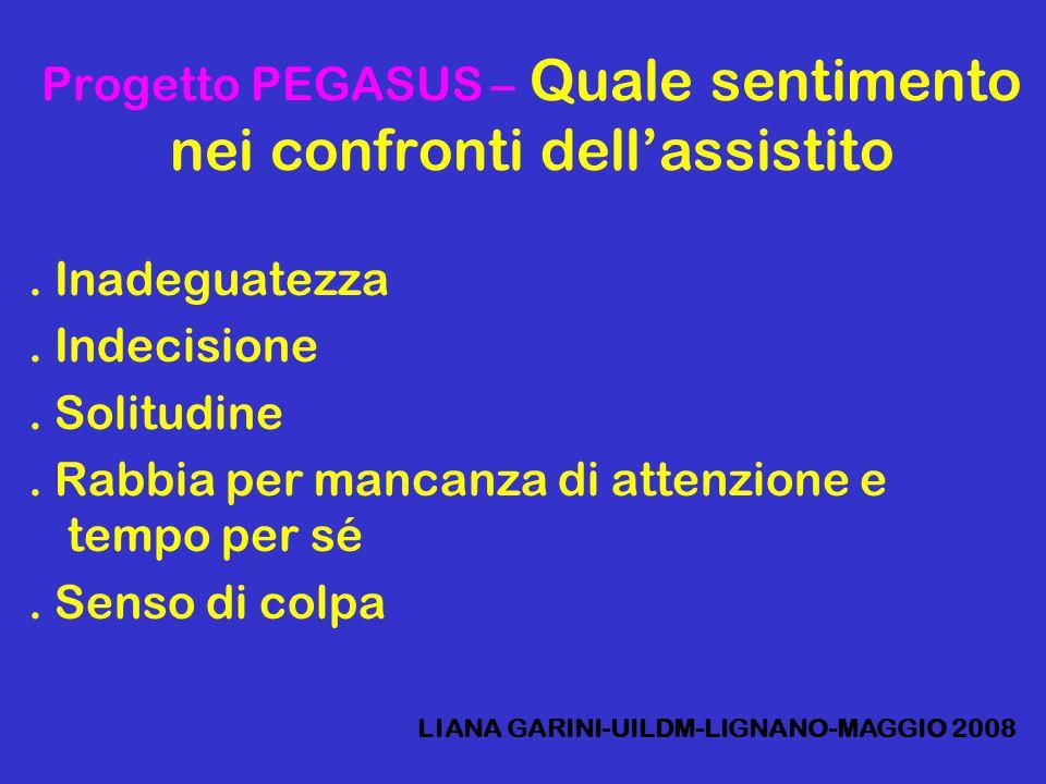 Progetto PEGASUS – Quale sentimento nei confronti dell'assistito. Inadeguatezza. Indecisione. Solitudine. Rabbia per mancanza di attenzione e tempo pe