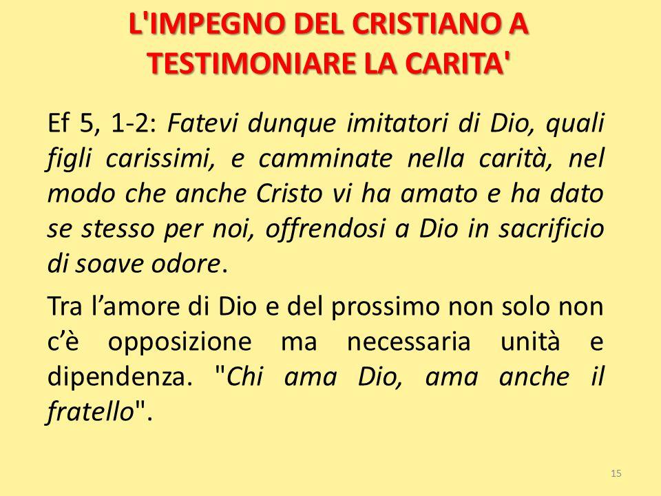 L'IMPEGNO DEL CRISTIANO A TESTIMONIARE LA CARITA' Ef 5, 1-2: Fatevi dunque imitatori di Dio, quali figli carissimi, e camminate nella carità, nel modo