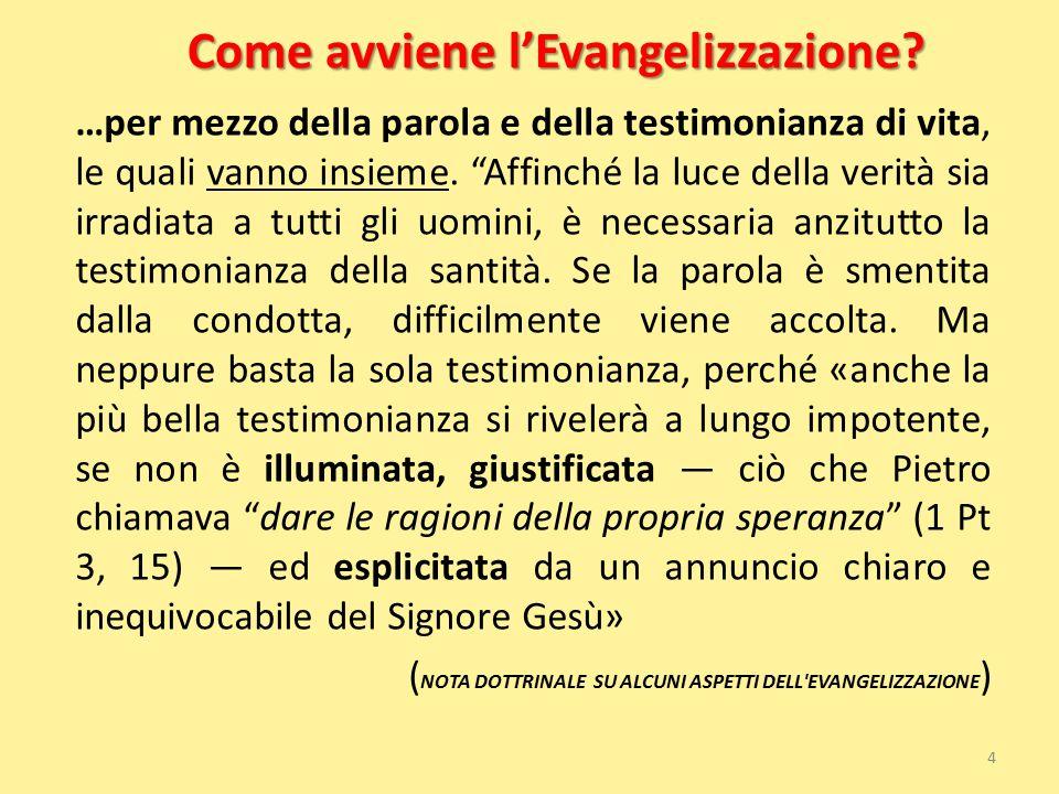 """Come avviene l'Evangelizzazione? …per mezzo della parola e della testimonianza di vita, le quali vanno insieme. """"Affinché la luce della verità sia irr"""