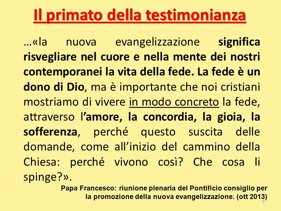 Il primato della testimonianza …«la nuova evangelizzazione significa risvegliare nel cuore e nella mente dei nostri contemporanei la vita della fede.