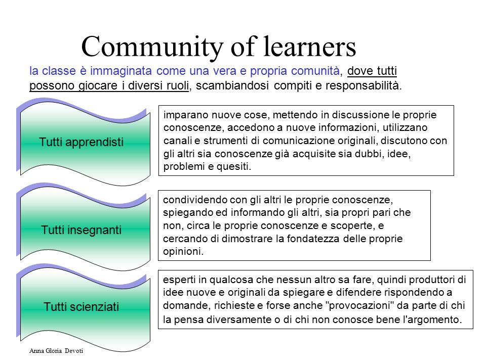 Community of learners la classe è immaginata come una vera e propria comunità, dove tutti possono giocare i diversi ruoli, scambiandosi compiti e responsabilità.