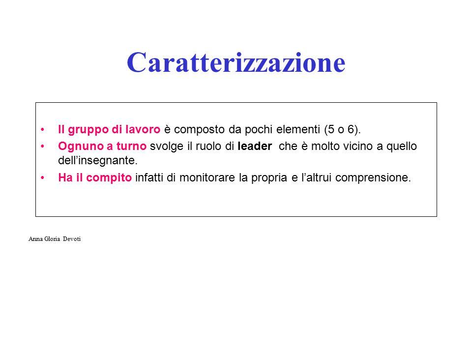 Caratterizzazione Il gruppo di lavoro è composto da pochi elementi (5 o 6).