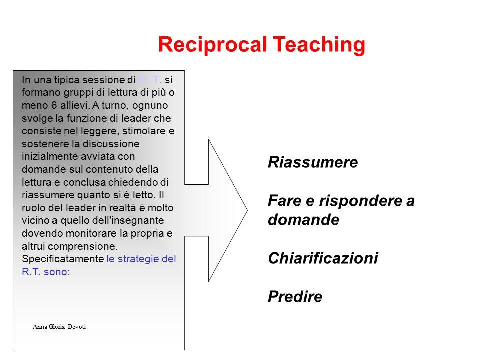 Riassumere Fare e rispondere a domande Chiarificazioni Predire Reciprocal Teaching In una tipica sessione di R. T. si formano gruppi di lettura di più