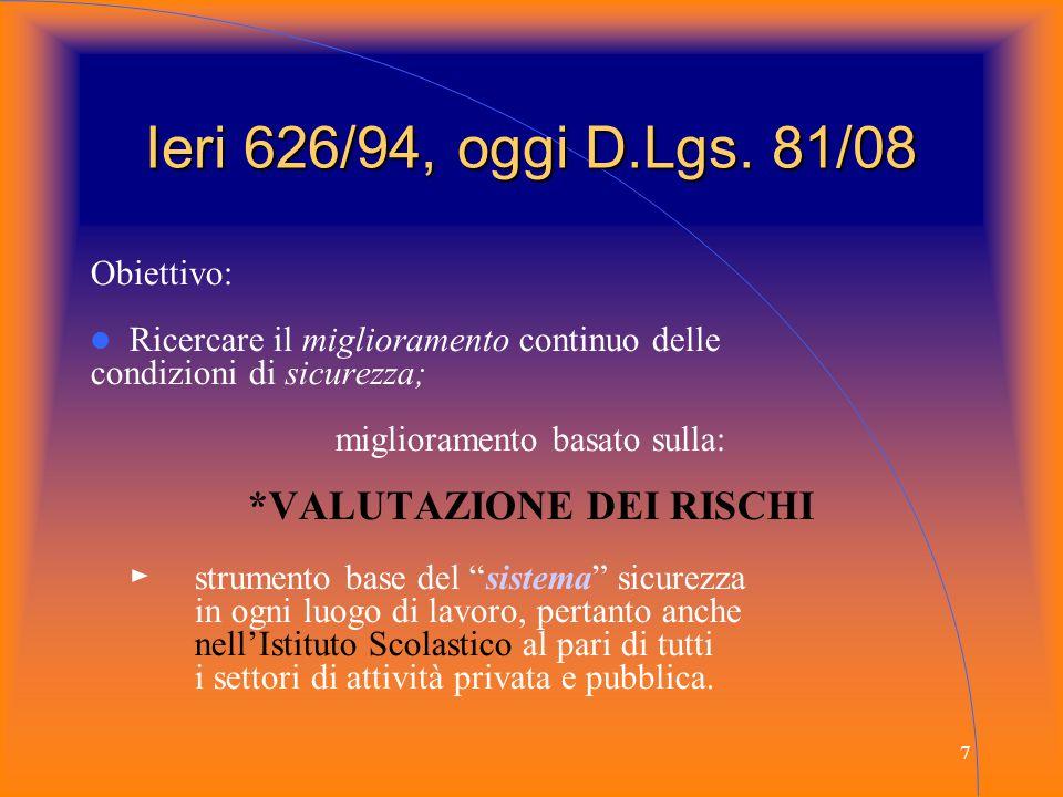 7 Ieri 626/94, oggi D.Lgs. 81/08 Obiettivo: Ricercare il miglioramento continuo delle condizioni di sicurezza; miglioramento basato sulla: *VALUTAZION
