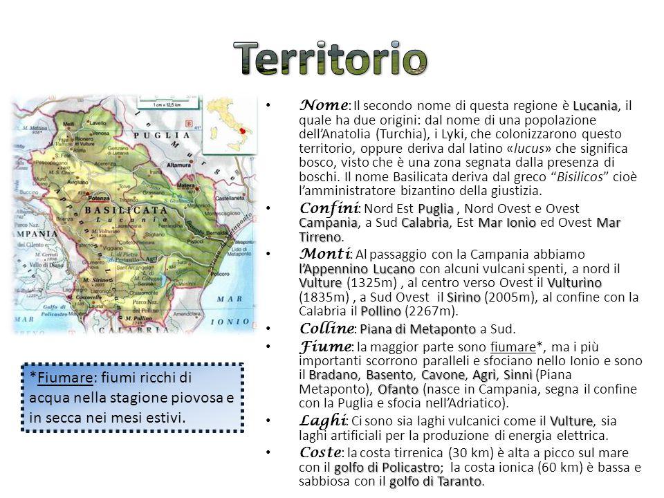Lucania Nome : Il secondo nome di questa regione è Lucania, il quale ha due origini: dal nome di una popolazione dell'Anatolia (Turchia), i Lyki, che