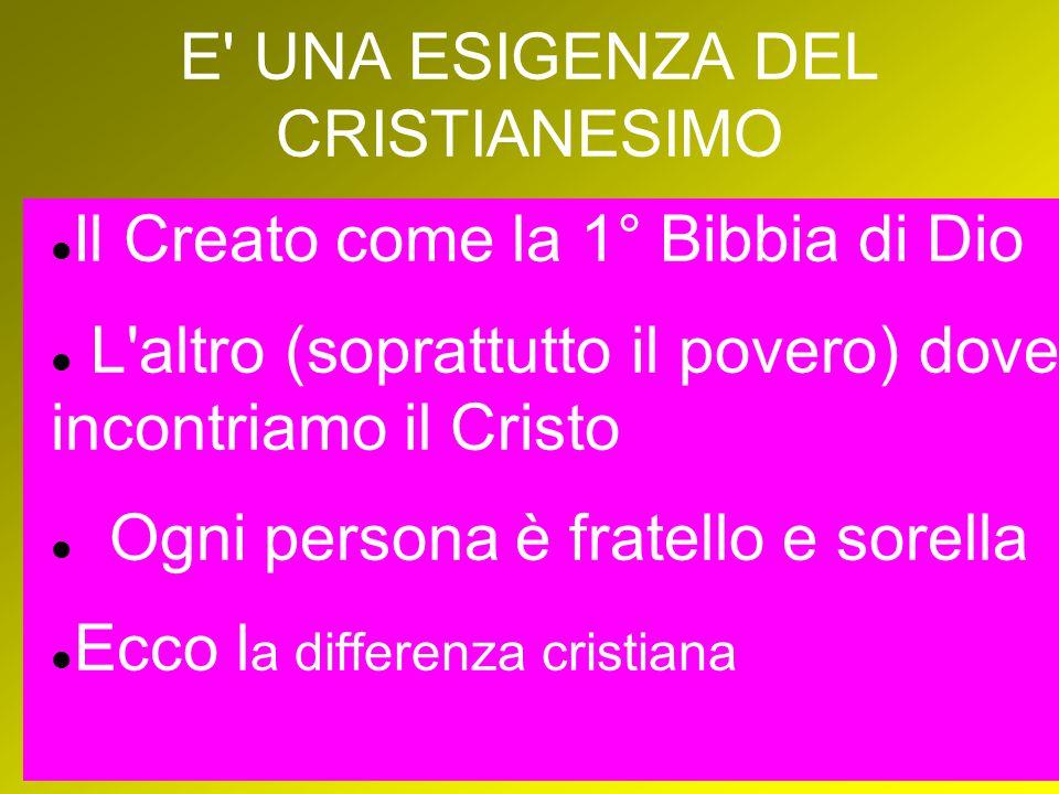 E UNA ESIGENZA DEL CRISTIANESIMO Il Creato come la 1° Bibbia di Dio L altro (soprattutto il povero) dove incontriamo il Cristo Ogni persona è fratello e sorella Ecco l a differenza cristiana