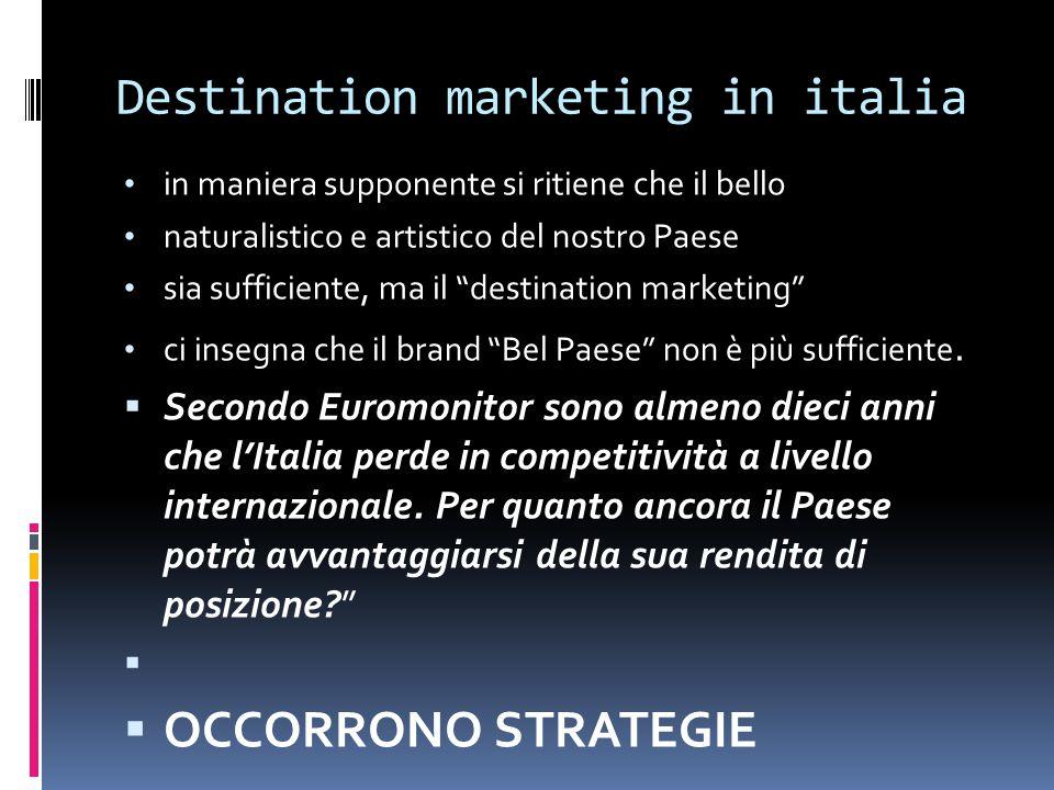 Destination marketing in italia in maniera supponente si ritiene che il bello naturalistico e artistico del nostro Paese sia sufficiente, ma il destination marketing ci insegna che il brand Bel Paese non è più sufficiente.