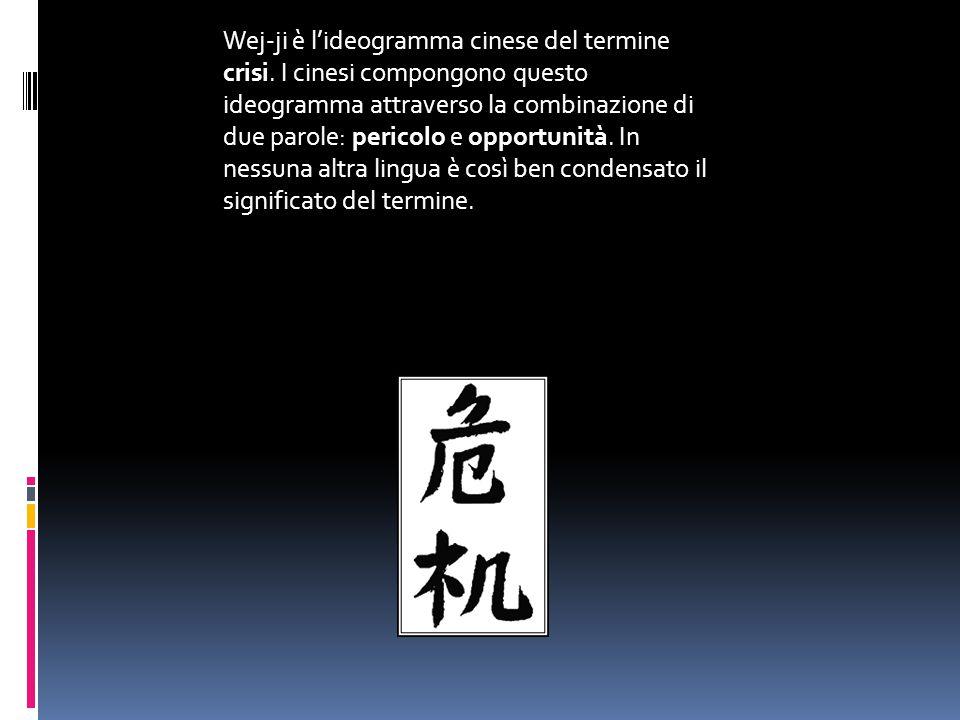 Wej-ji è l'ideogramma cinese del termine crisi. I cinesi compongono questo ideogramma attraverso la combinazione di due parole: pericolo e opportunità