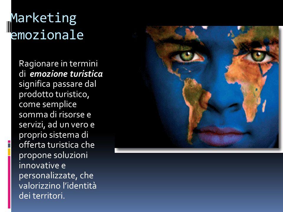 Marketing emozionale Ragionare in termini di emozione turistica significa passare dal prodotto turistico, come semplice somma di risorse e servizi, ad un vero e proprio sistema di offerta turistica che propone soluzioni innovative e personalizzate, che valorizzino l'identità dei territori.