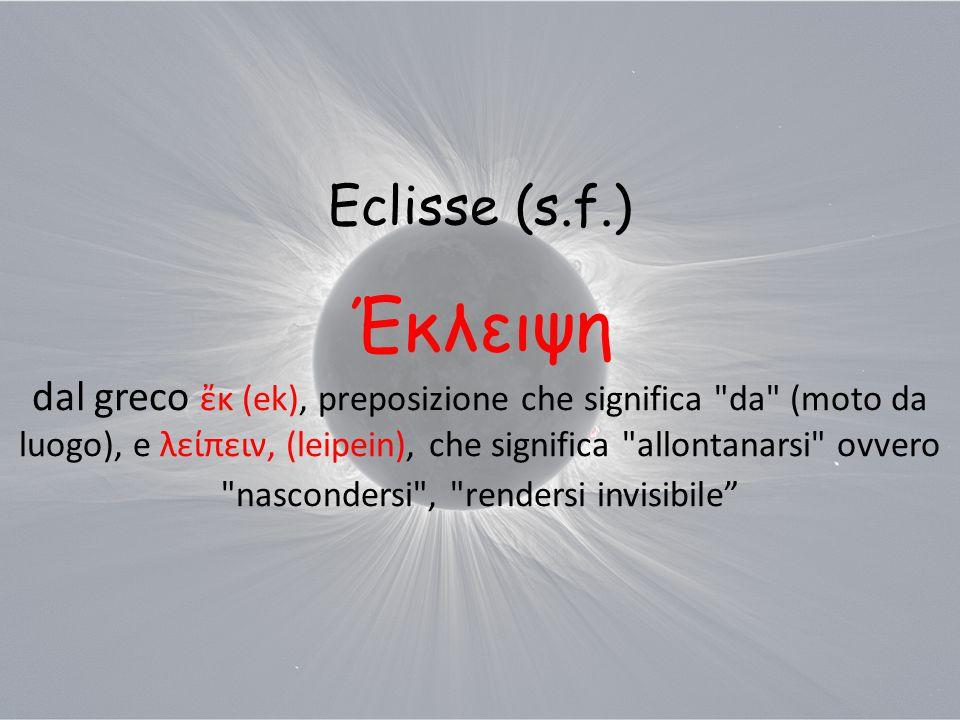 Eclisse (s.f.) Έκλειψη dal greco ἔκ (ek), preposizione che significa