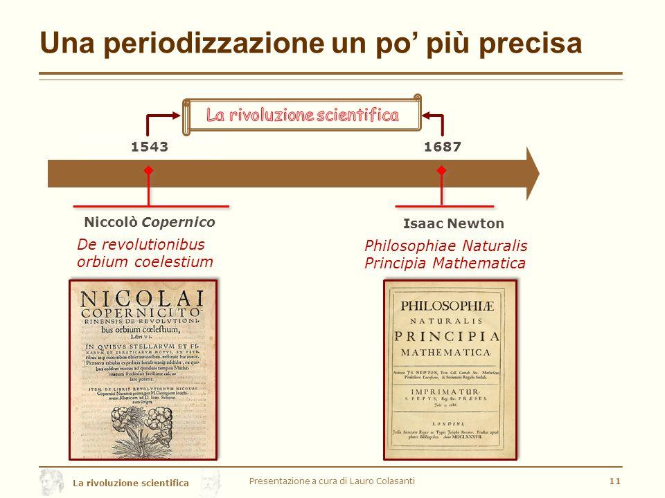Una periodizzazione un po' più precisa Presentazione a cura di Lauro Colasanti11 1543 Niccolò Copernico De revolutionibus orbium coelestium 1687 Isaac Newton Philosophiae Naturalis Principia Mathematica