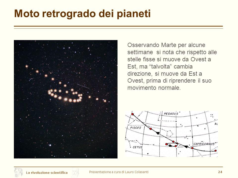 La rivoluzione scientifica Moto retrogrado dei pianeti Presentazione a cura di Lauro Colasanti24 Osservando Marte per alcune settimane si nota che rispetto alle stelle fisse si muove da Ovest a Est, ma talvolta cambia direzione, si muove da Est a Ovest, prima di riprendere il suo movimento normale.