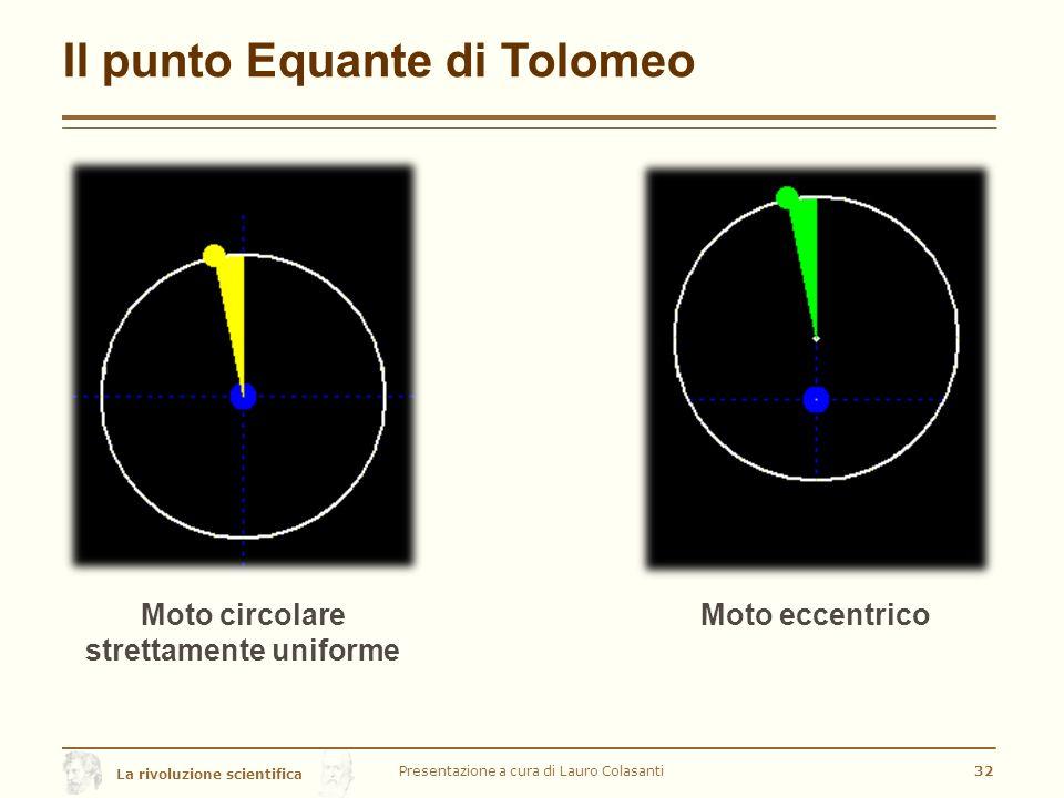 La rivoluzione scientifica Il punto Equante di Tolomeo Presentazione a cura di Lauro Colasanti32 Moto circolare strettamente uniforme Moto eccentrico