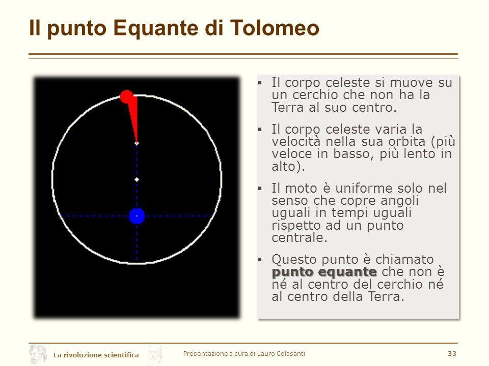 La rivoluzione scientifica Il punto Equante di Tolomeo Presentazione a cura di Lauro Colasanti33  Il corpo celeste si muove su un cerchio che non ha la Terra al suo centro.