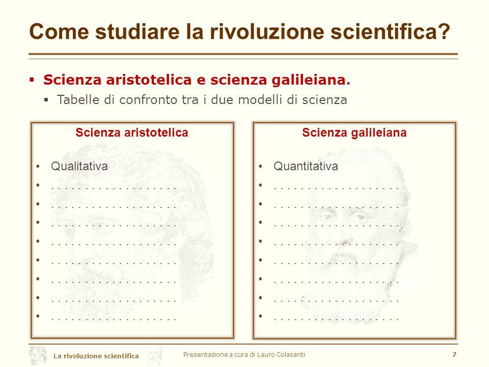 La rivoluzione scientifica Come studiare la rivoluzione scientifica.