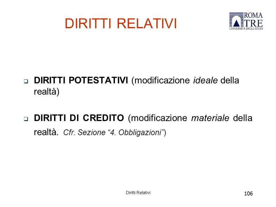 106 DIRITTI RELATIVI  DIRITTI POTESTATIVI (modificazione ideale della realtà)  DIRITTI DI CREDITO (modificazione materiale della realtà.