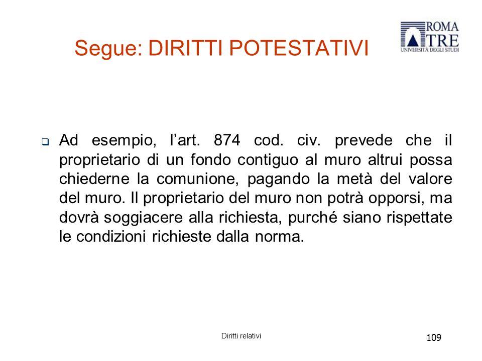 109 Segue: DIRITTI POTESTATIVI  Ad esempio, l'art.